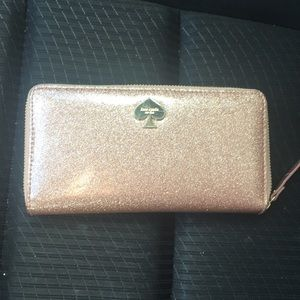 Handbags - Kate Spade rose gold glitter wallet